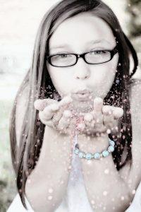 girl, blowing, portrait