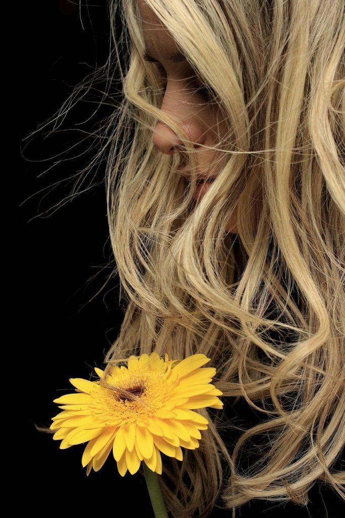 model, yellow, flower